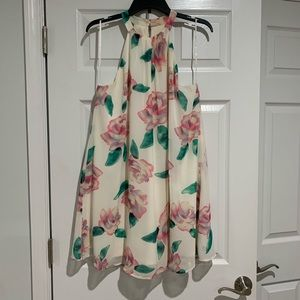 Cream, floral shift dress